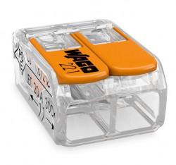 Caja 100 uds. Borna derivación 4 mm transparente 2 conductores