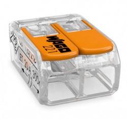 Caja 50 uds. Borna derivación 6 mm transparente 2 conductores