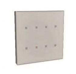 Pulsador capacitivo KNX, 8 botones de cristal blanco y marco de cromo