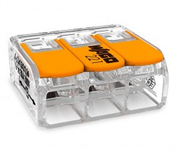 Caja 30 uds. Borna derivación 6 mm transparente 3 conductores