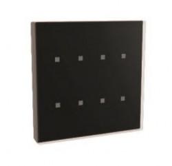 Pulsador capacitivo KNX, 8 botones de cristal negro y marco de cobre