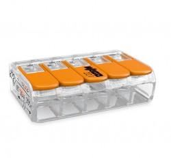 Caja 25 uds. Borna derivación 4 mm transparente 5 conductores